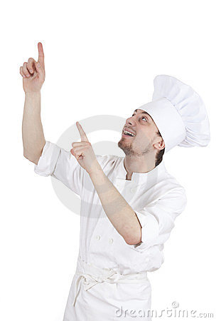 Pointing up male cook