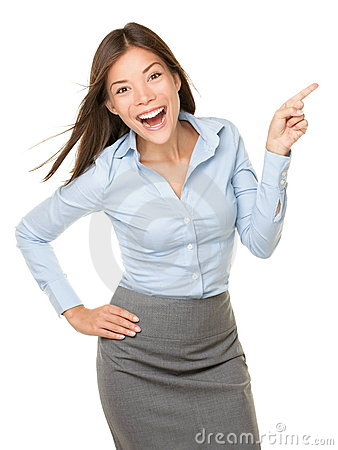 Pointing woman cheerful excited