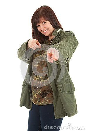Pointing you fat young woman in militry jacket