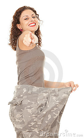 Free Pointing You Girl In Too Great Camouflage Trousers Stock Photo - 21289720