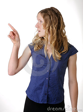 Pointing young woman