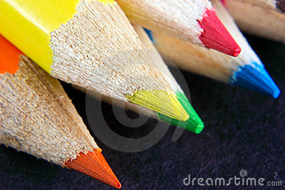 Points of coloured crayons