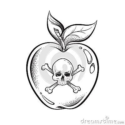 Free Poison Apple Line Art And Dot Work Hand Drawn Vector Illustration. Boho Style Sticker, Patch, Print Or Blackwork Flash Tattoo Desi Stock Photography - 119748442