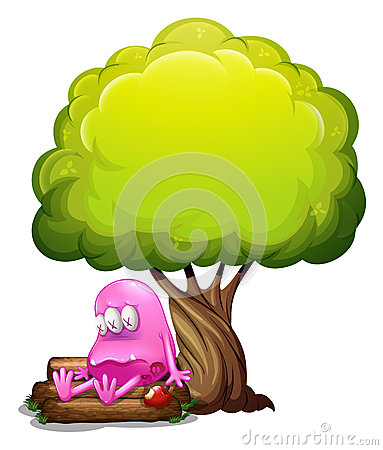 A poisoned monster sitting above the log under the tree