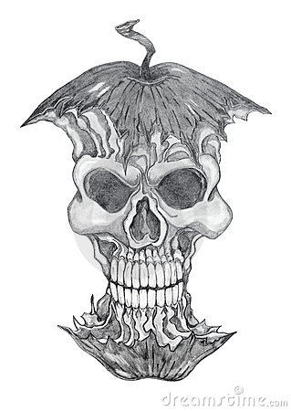Poisonous apple, pencil drawing