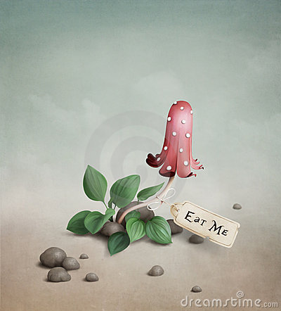 Free Poisonous Red Mushroom With The Tag Drink Me Ea Royalty Free Stock Photography - 19490237