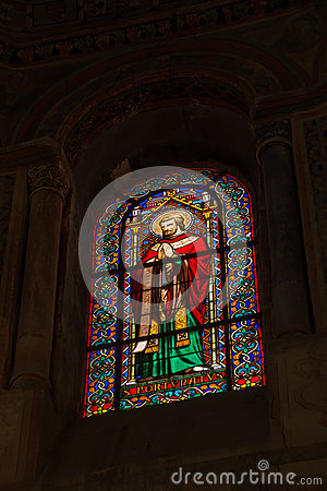 Free Poitiers, France - September 12, 2016: Colorful Stained Glass Wi Stock Photography - 82240542