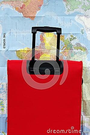 Pojęcia bagażu mapy walizki podróży świat