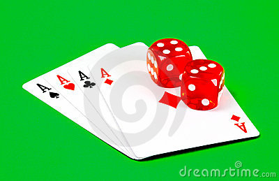 Poker ace and dice