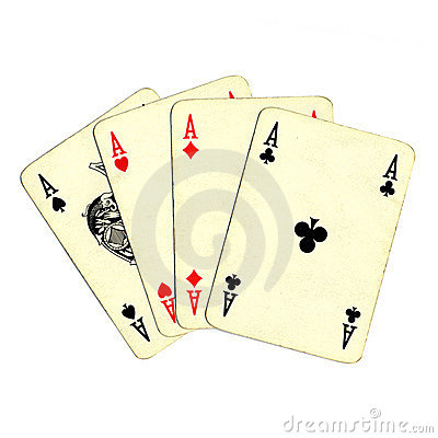 Poker of aces cards