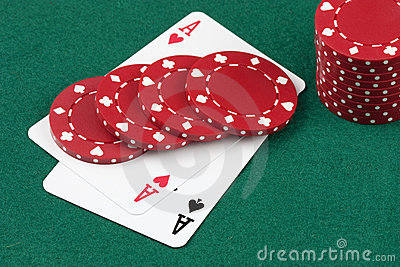 Poker cards, ace and casino chips