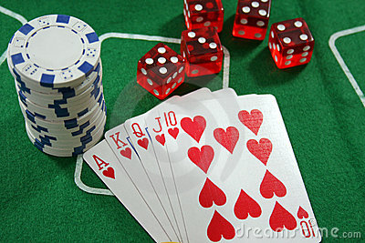 Poker Cards, Chips and Dices