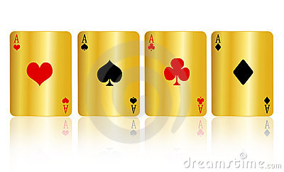 Poker cards gold