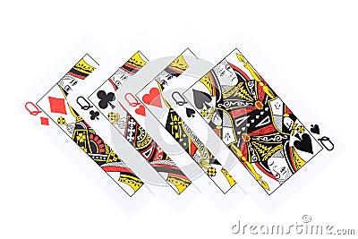 Poker cards Queens