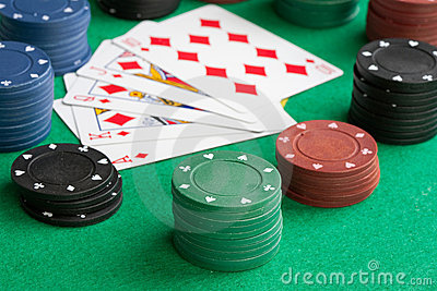 Poker cards with straight flush