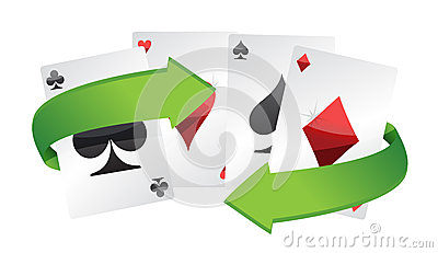 Poker cards and turning arrows