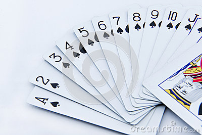 The poker cards on white background