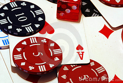 Poker Chips Cards and Dice