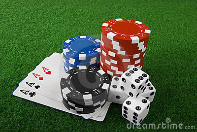 Poker chips,cards and dices