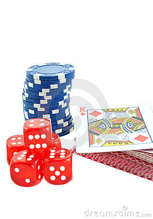 Poker chips, cards and red dice cubes isolated