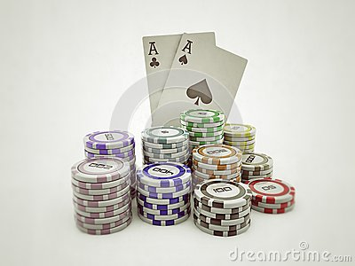 Poker chips and double aces