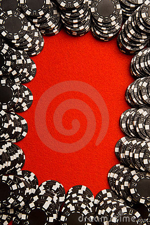 Poker Chips on Felt