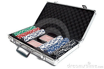 Poker chips in a suitcase