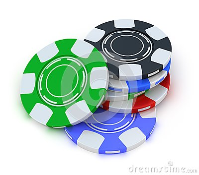 Poker gambling chips in pile top view