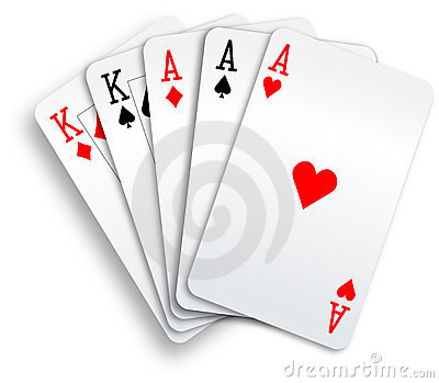 Poker Hand Full House Aces and Kings playing cards