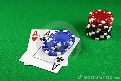 Poker - A Pair of Aces with Poker Chips 3