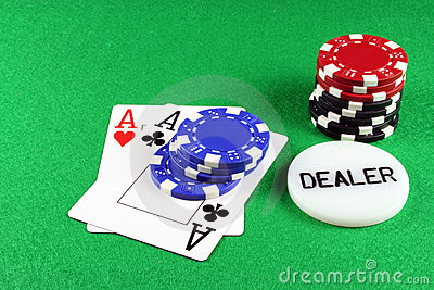 Poker - A Pair of Aces with Poker Chips 5
