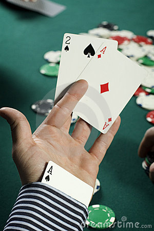Poker player with ace up his sleeve