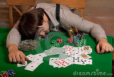 Poker player fell asleep