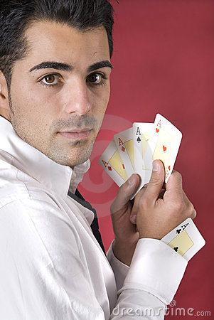 Poker player with one ace in his sleeve