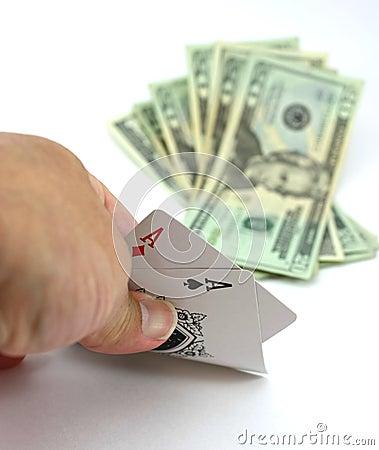 Free Poker Player Views Pocket Pair Aces, Cash Bet Stock Photos - 12152773