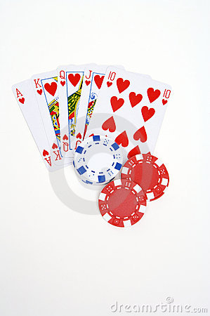 Pokerchips and playingcards