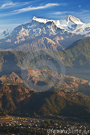 Pokhara and the Himalayas at Dawn, Nepal
