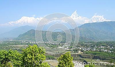 Pokhara and Machhapuchhre