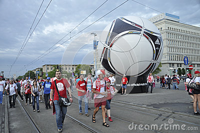 Poland fans EURO 2012 Editorial Stock Photo