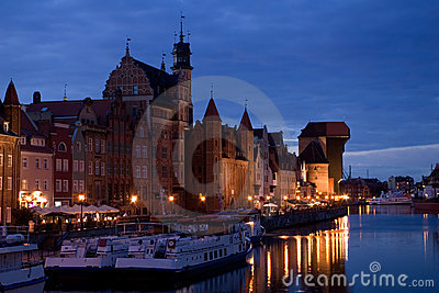 Poland, Gdansk old city at night