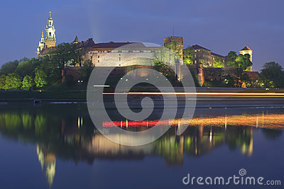 Poland, Krakow, Wawel Royal Castle, Lights of a Passing Boat