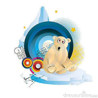 Polar bear cartoon illustration vector