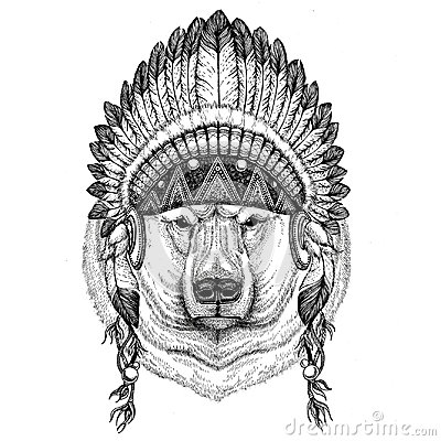 Polar bear Hand drawn illustration for tattoo, t-shirt, emblem, Stock Photo