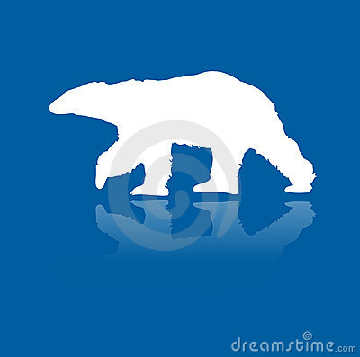 Polar bear on ice vector silhouette