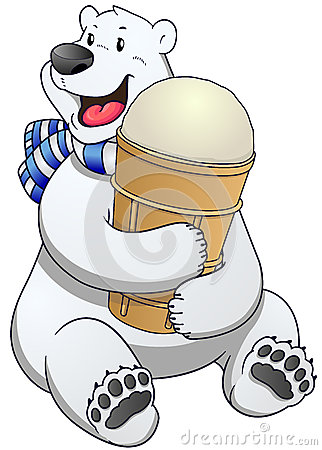 Free Polar Bear Label With Ice Cream. Vector Illustration. Stock Photos - 64825143