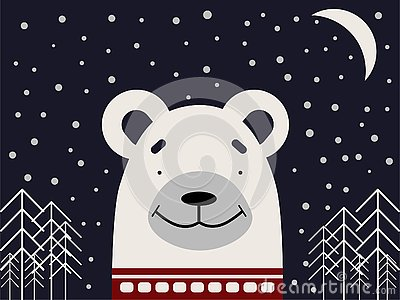 A polar bear in a red sweater on a dark background with stars and trees. Stock Photo