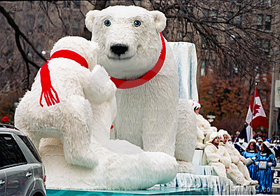 Polar Bear at Santa Clause Parade at Toronto Editorial Photo