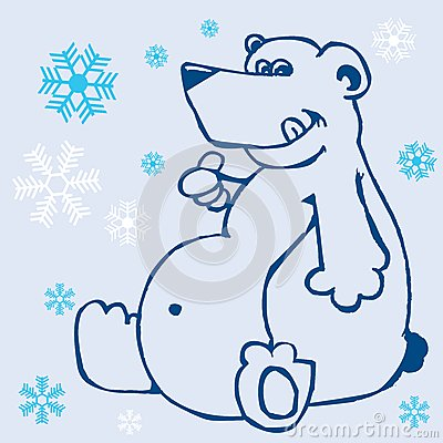 Polar bear and snowflakes on blue