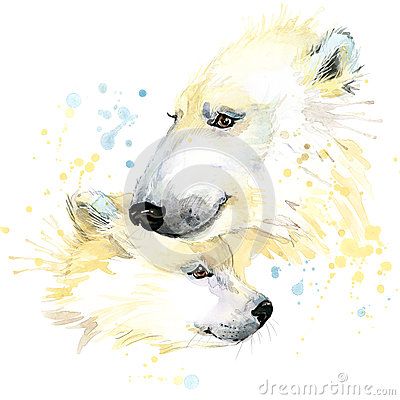 Free Polar Bear T-shirt Graphics, Polar Bear Illustration With Splash Watercolor Textured Background. Royalty Free Stock Images - 55301449