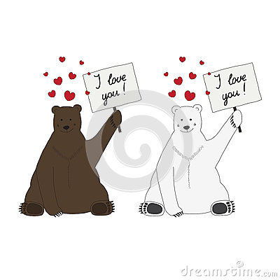 Polar and brown bear make a declaration of love